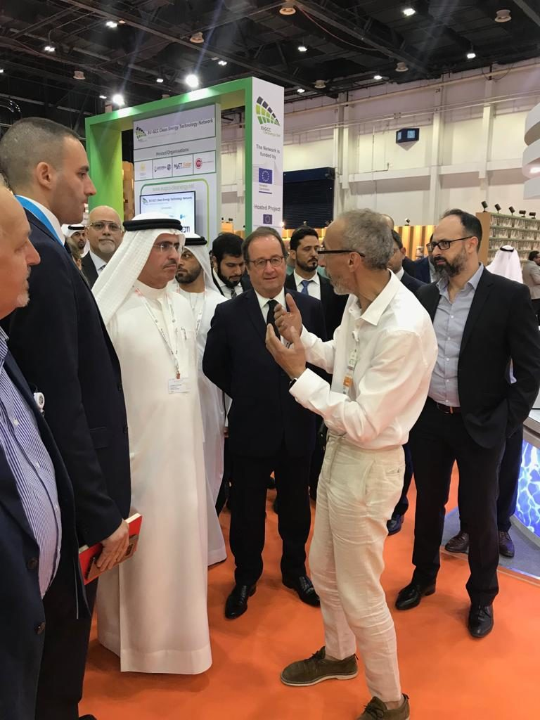 François Hollande and Saeed Mohammed Al Tayer at IFFEN's WETEX 2018 booth in Dubai